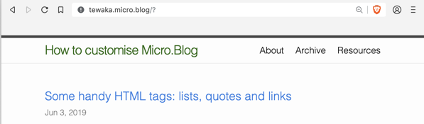 Now my site title is displayed larger and in green.