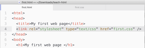 Link the stylesheet to the HTML file.