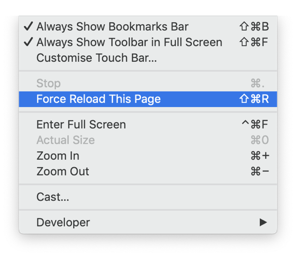 Force Reload This Page in Brave.