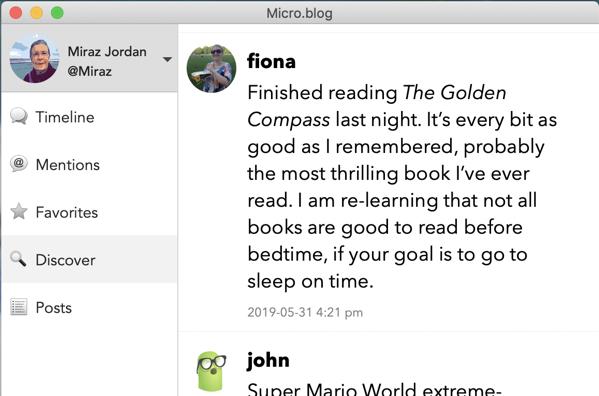 Profile pics in the Micro.Blog Mac app.