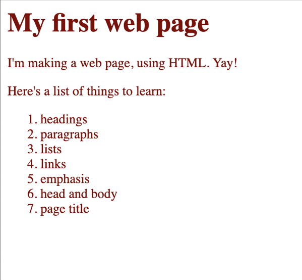 Maroon text in the body of the web page.