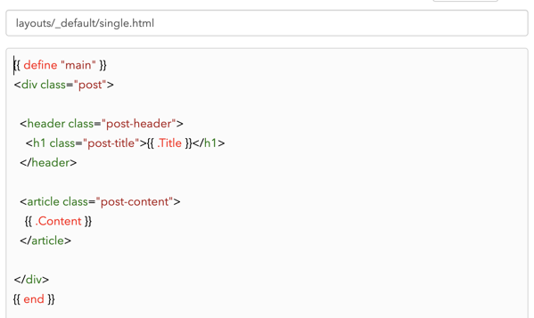 The single.html default template file.