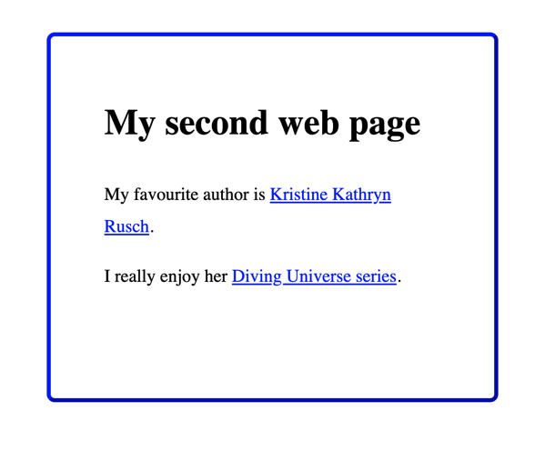 Hypertext links on a web page are blue and underlined.