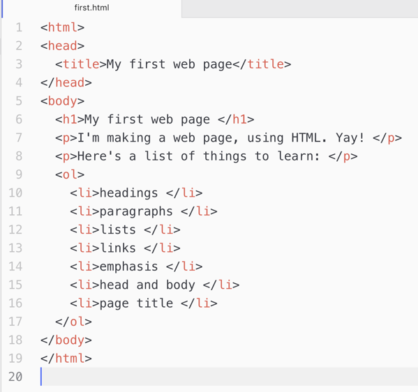 My first HTML page.