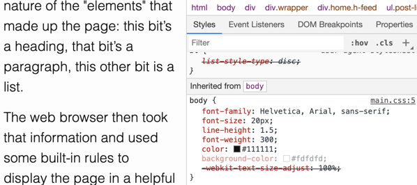 Inspect CSS.