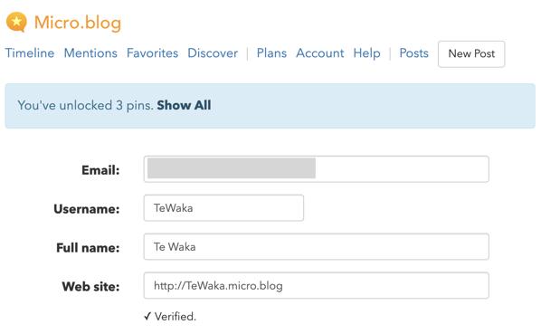 TeWaka account name page.