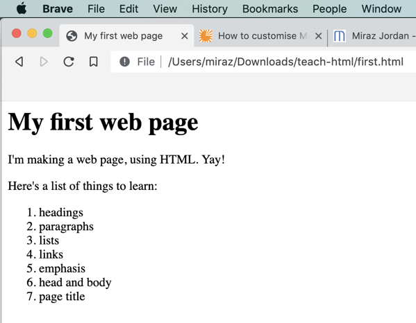 My first web page as displayed in a browser.