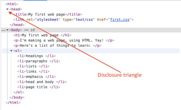 Disclosure triangles in the web inspector.