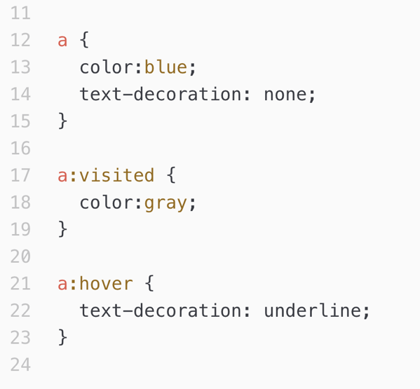 CSS styles for links.