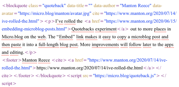 Quoteback embed text example.