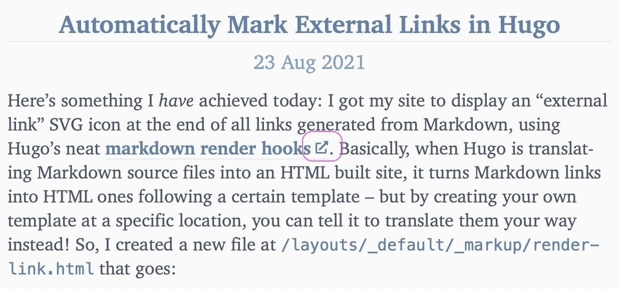 Screenshot with an example of the link icon marked.